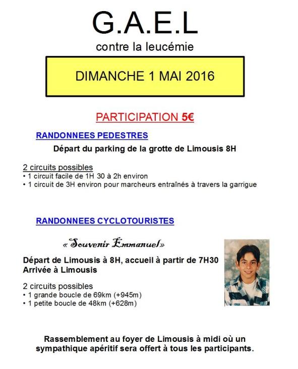 RANDONNEES CYCLOTOURISTES & PEDESTRES « Souvenir Emmanuel »